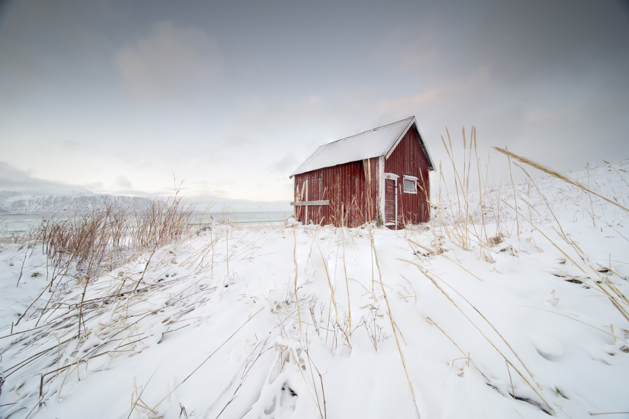 Norwegian red cottage in a winter landscape