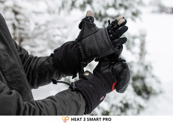 Extra Warm Gloves HEAT 3 SMART PRO from THE HEAT COMPANY with Foldable Mittens for Photographers