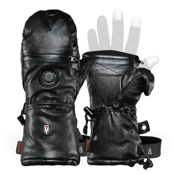 Gants de photographie en cuir : moufles SHELL FULL LEATHER de THE HEAT COMPANY