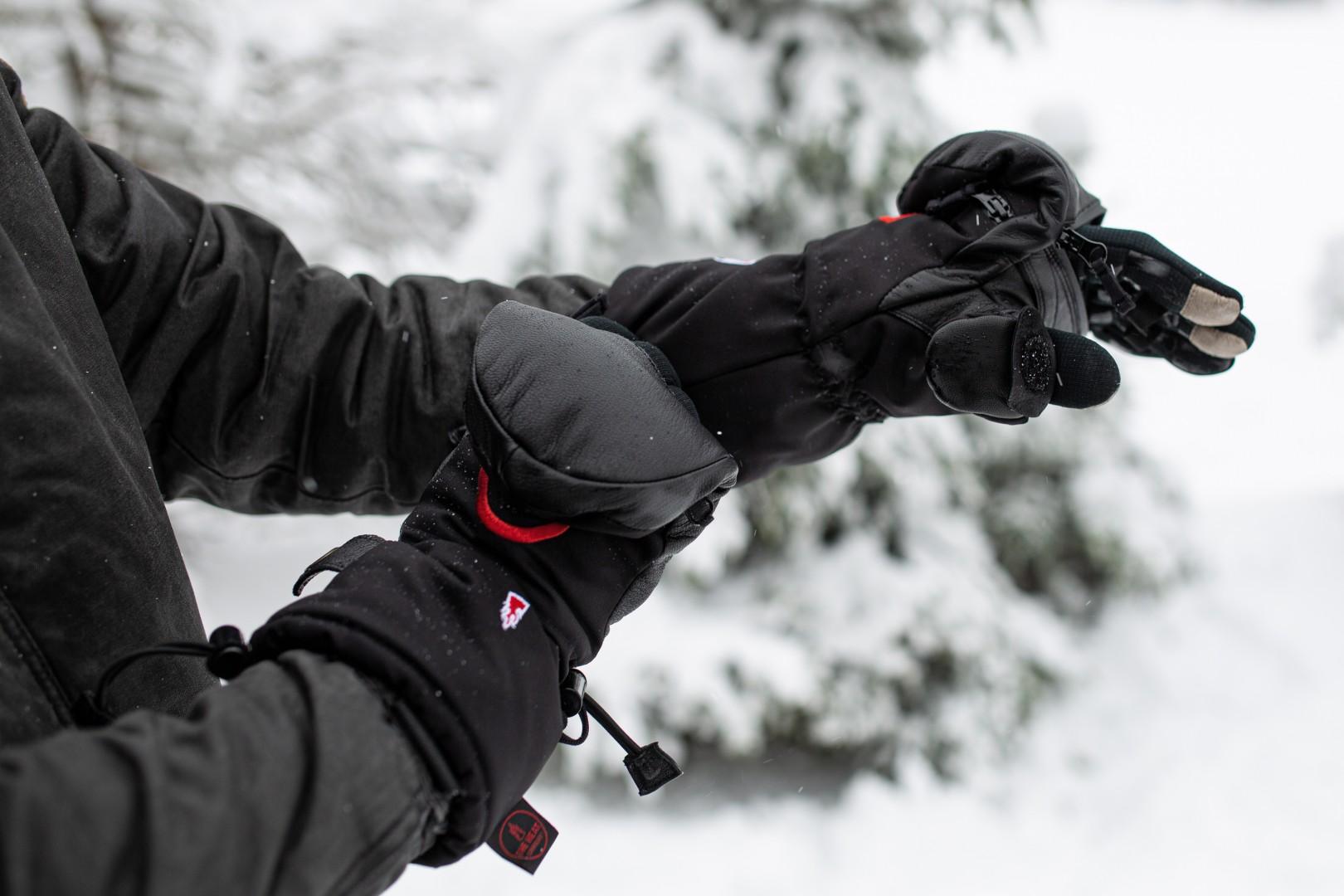 A HEAT 3 SMART PRO glove is flipped back